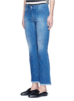 Front View - Click To Enlarge - Stella McCartney - Distressed star kick flare denim pants