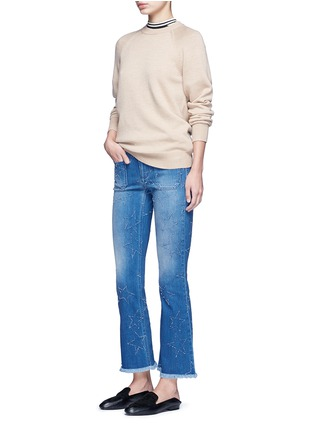 Figure View - Click To Enlarge - Stella McCartney - Distressed star kick flare denim pants