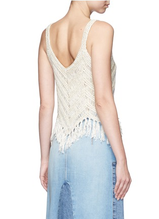Back View - Click To Enlarge - alice + olivia - 'Adelina' dropped stitch knit fringed tank top