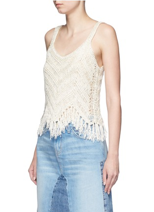 Front View - Click To Enlarge - alice + olivia - 'Adelina' dropped stitch knit fringed tank top