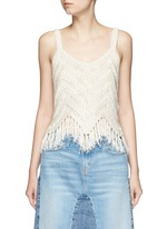 'Adelina' dropped stitch knit fringed tank top