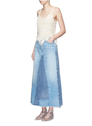 Figure View - Click To Enlarge - alice + olivia - 'Adelina' dropped stitch knit fringed tank top