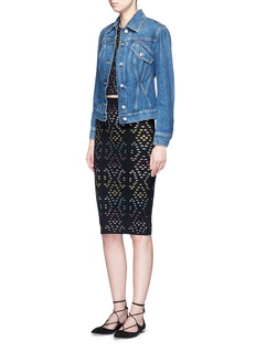 alice + olivia'Ani' stripe underlay knit pencil skirt