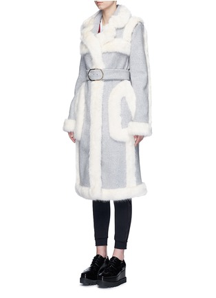 Front View - Click To Enlarge - Stella McCartney - Faux fur wool blend felt overcoat