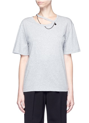 Main View - Click To Enlarge - Stella McCartney - 'Falabella' chain cutout neck T-shirt