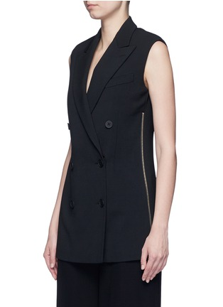 Front View - Click To Enlarge - Stella McCartney - Side zip wool crepe waistcoat