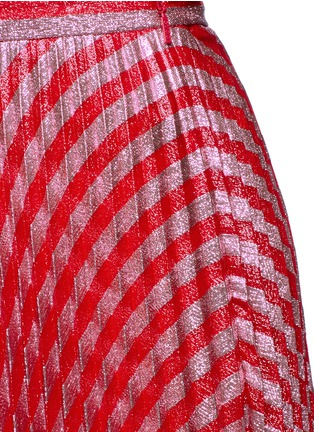 Detail View - Click To Enlarge - Gucci - Stripe Lurex voile pleat skirt