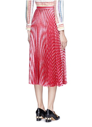Back View - Click To Enlarge - Gucci - Stripe Lurex voile pleat skirt