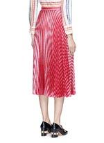 Stripe Lurex voile pleat skirt