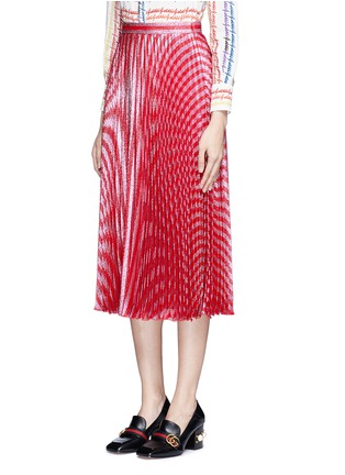 Front View - Click To Enlarge - Gucci - Stripe Lurex voile pleat skirt
