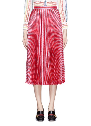 Main View - Click To Enlarge - Gucci - Stripe Lurex voile pleat skirt