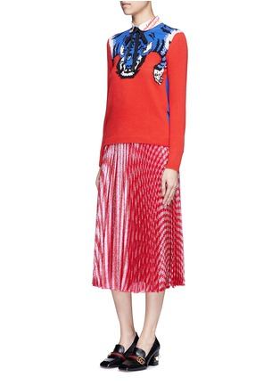 Figure View - Click To Enlarge - Gucci - Stripe Lurex voile pleat skirt