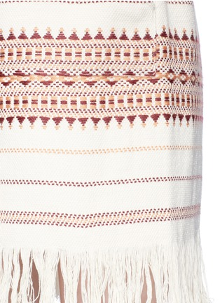 Detail View - Click To Enlarge - Zimmermann - 'Harlequin' stripe cotton fringed poncho dress