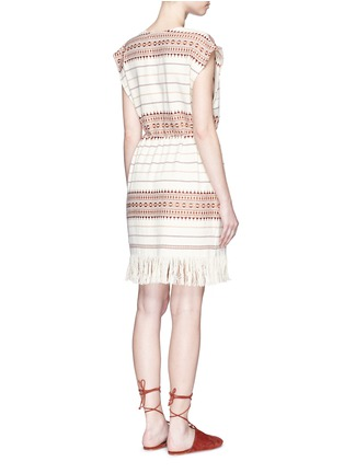 Back View - Click To Enlarge - Zimmermann - 'Harlequin' stripe cotton fringed poncho dress