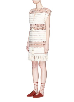 Front View - Click To Enlarge - Zimmermann - 'Harlequin' stripe cotton fringed poncho dress