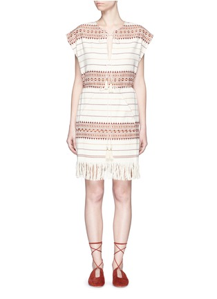 Main View - Click To Enlarge - Zimmermann - 'Harlequin' stripe cotton fringed poncho dress