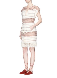 Zimmermann 'Harlequin' stripe cotton fringed poncho dress