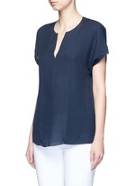 Pintuck stitch silk split neck blouse