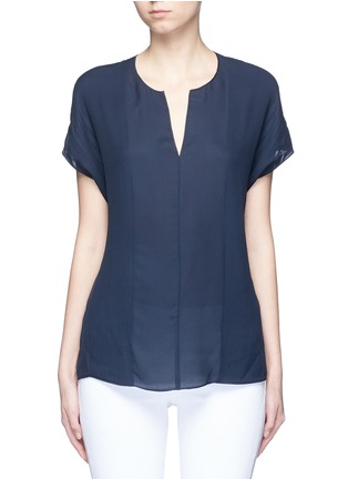 Main View - Click To Enlarge - Vince - Pintuck stitch silk split neck blouse
