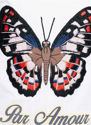 Detail View - Click To Enlarge - Gucci - Butterfly embroidery jersey T-shirt