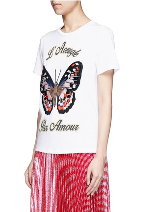Front View - Click To Enlarge - Gucci - Butterfly embroidery jersey T-shirt