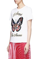 Butterfly embroidery jersey T-shirt