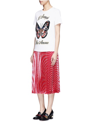 Figure View - Click To Enlarge - Gucci - Butterfly embroidery jersey T-shirt