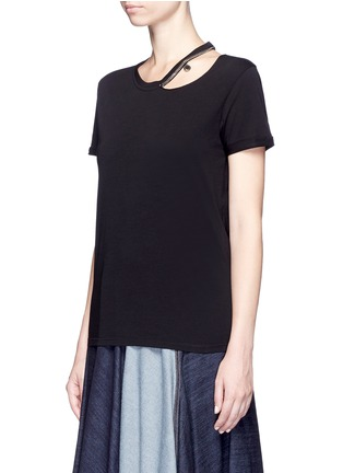 Front View - Click To Enlarge - Stella McCartney - 'Falabella' chain cutout shoulder classic T-shirt