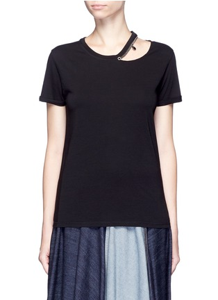 Main View - Click To Enlarge - Stella McCartney - 'Falabella' chain cutout shoulder classic T-shirt