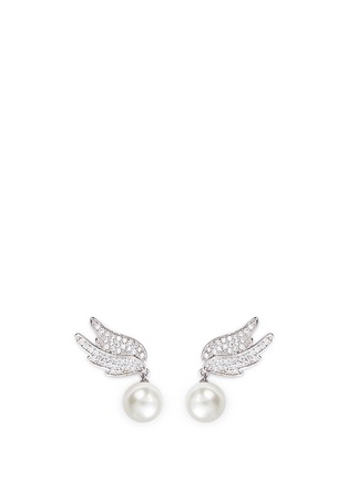 Main View - Click To Enlarge - CZ by Kenneth Jay Lane - Faux pearl drop cubic zirconia wing earrings