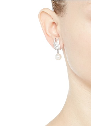 Figure View - Click To Enlarge - CZ by Kenneth Jay Lane - Faux pearl drop cubic zirconia wing earrings