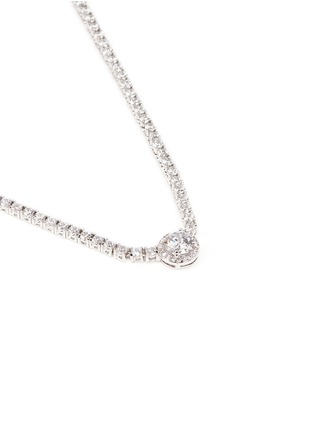 CZ by Kenneth Jay Lane - Round cut cubic zirconia pendant choker necklace