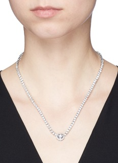 CZ by Kenneth Jay Lane Round cut cubic zirconia pendant choker necklace