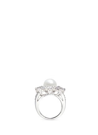 Figure View - Click To Enlarge - CZ by Kenneth Jay Lane - Cubic zirconia glass pearl floral ring