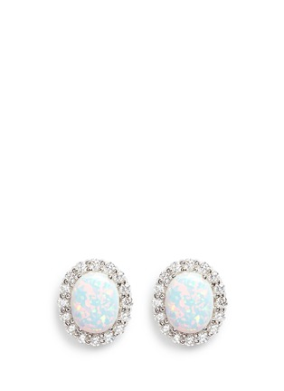 Main View - Click To Enlarge - CZ by Kenneth Jay Lane - Opalescent cubic zirconia oval cabochon stud earrings