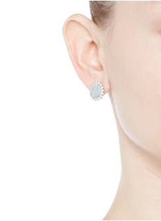 CZ by Kenneth Jay LaneOpalescent cubic zirconia oval cabochon stud earrings