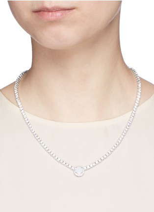 Figure View - Click To Enlarge - CZ by Kenneth Jay Lane - Round cut milky cubic zirconia pendant choker necklace