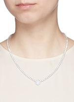 Round cut milky cubic zirconia pendant choker necklace