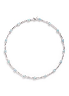 CZ by Kenneth Jay Lane Opalescent cubic zirconia oval cabochon necklace