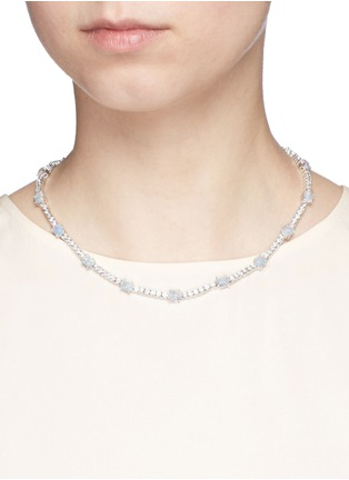 Figure View - Click To Enlarge - CZ by Kenneth Jay Lane - Opalescent cubic zirconia oval cabochon necklace
