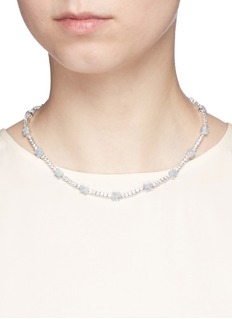 CZ by Kenneth Jay LaneOpalescent cubic zirconia oval cabochon necklace