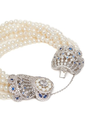 Detail View - Click To Enlarge - CZ by Kenneth Jay Lane - Cubic zirconia pavé freshwater pearl bracelet