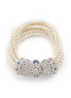 CZ by Kenneth Jay LaneCubic zirconia pavé freshwater pearl bracelet