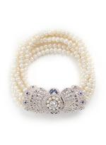 Cubic zirconia pavé freshwater pearl bracelet