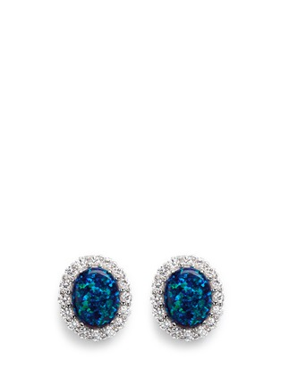 CZ by Kenneth Jay Lane - Opalescent cubic zirconia oval cabochon stud earrings