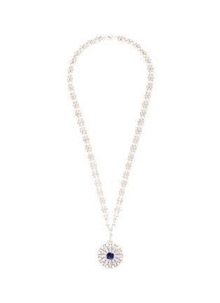 CZ by Kenneth Jay Lane - Cubic zirconia freshwater pearl floral pendant necklace