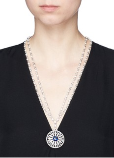 CZ by Kenneth Jay LaneCubic zirconia freshwater pearl floral pendant necklace