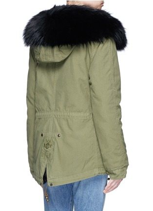 Back View - Click To Enlarge - Mr & Mrs Italy - 'Army Mini' raccoon trim hooded rabbit fur parka