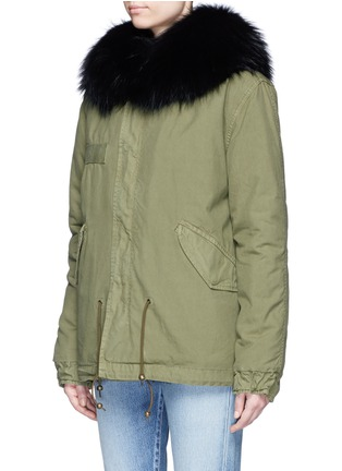 Front View - Click To Enlarge - Mr & Mrs Italy - 'Army Mini' raccoon trim hooded rabbit fur parka