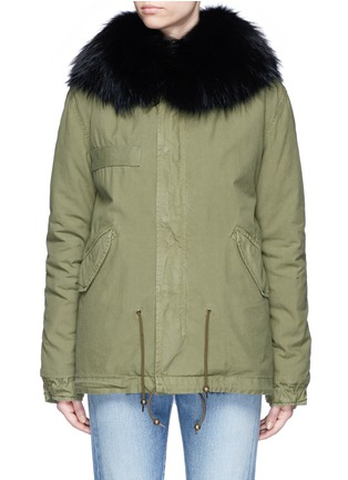 Main View - Click To Enlarge - Mr & Mrs Italy - 'Army Mini' raccoon trim hooded rabbit fur parka